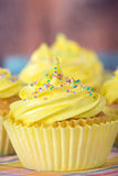 Yellow Easter cupcake Royalty Free Stock Image