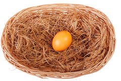 Yellow easter egg in basket Royalty Free Stock Photos