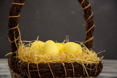 Yellow easter egg Stock Images