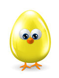 Yellow easter egg with eyes, beak and legs  over white b Royalty Free Stock Image