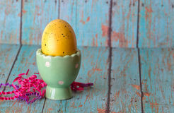 Yellow Easter Egg in a Pastel Green Egg Holder. On a textured background stock image
