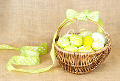 Yellow easter eggs in basket Royalty Free Stock Photo