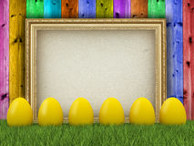 Yellow easter eggs and blank paper sheet Stock Photos