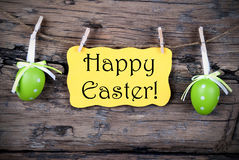Yellow Easter Label With Happy Easter Royalty Free Stock Images