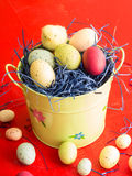 Easter basket with eggs and chick Royalty Free Stock Photos