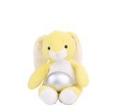 Yellow easter toy rabbit with silver egg. Royalty Free Stock Image