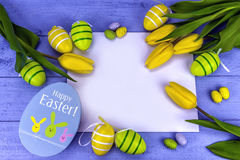 Yellow easter tulips royalty free stock image