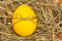 Yellow egg with bowknot on hay background Stock Photography