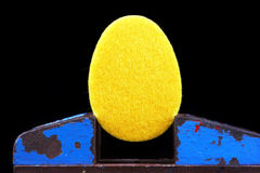 Yellow egg made of felt Royalty Free Stock Images