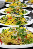 Yellow egg noodles stir-fried Stock Photography