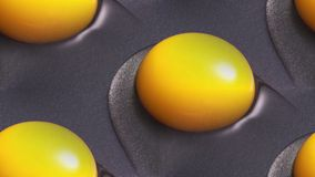 Yellow egg yolks are cooked in a skillet stock images