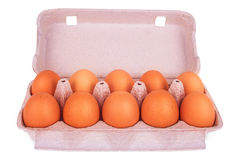Yellow eggs in box Royalty Free Stock Image