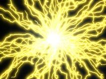 Yellow electric arcs. 3d illustration Stock Photo