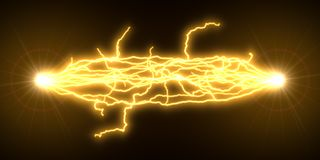 Yellow electric arcs. 3d illustration Royalty Free Stock Images
