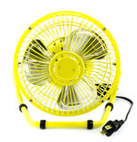 Yellow electric fan. With white isolate background Royalty Free Stock Photos