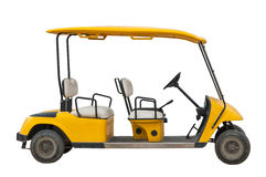 The yellow electric golf car with four seats Royalty Free Stock Photos