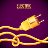 Yellow electric plug and cables Royalty Free Stock Photo