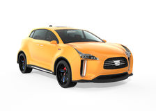 Yellow electric SUV concept car  on white background Royalty Free Stock Photos