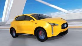 Yellow electric SUV driving on arc bridge vector illustration