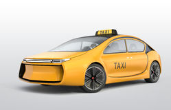 Yellow electric taxi  on gray background Stock Photo