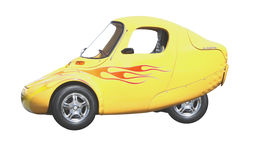 Yellow electric technology car. A prototype of a yellow electric car Royalty Free Stock Image
