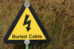 Yellow electrical hazard sign. Yellow buried electrical cables warning sign against grass royalty free stock photos
