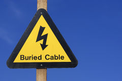 Yellow electrical hazard sign Stock Photo