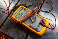 Yellow Electrical Multimeter. royalty free stock photography