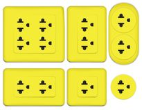 Yellow electrical outlet Stock Image