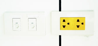 Yellow electrical outlet Royalty Free Stock Images
