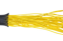 Yellow electrical wires in protection tube Stock Photography