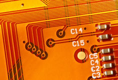 Yellow Electronic Circuit Board Royalty Free Stock Photography