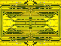 Yellow electronic microcircuit.Background. Stock Photo