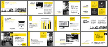 Yellow element for slide infographic on background. Presentation royalty free illustration
