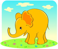 Yellow elephant. Yellow elephant on a green grass. Vector illustration Royalty Free Stock Photography