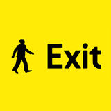 Yellow emergency exit sign. Black/Yellow emergency exit sign Royalty Free Stock Photography