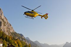 Yellow emergency helicopter Stock Photos