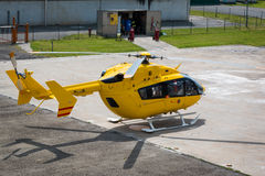 Yellow Emergency Helicopter, medical rescue team Stock Photo