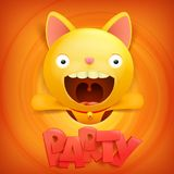 Yellow emoji cartoon cat character icon. Party concept card. Vector illustration Stock Image