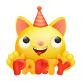 Yellow emoji cartoon cat character icon. Party concept card. Vector illustration Royalty Free Stock Photos