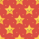 Yellow emoji smiling star characters seamless pattern red background Stock Photos