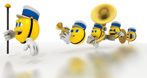 Yellow emoticon marching band Stock Photography