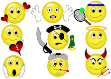 Yellow Emoticons. Yellow smiley emoticons with several different themes and expressions Stock Photography