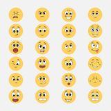 Yellow emoticons with cartoon expressions stock illustration