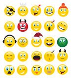 Yellow emotions. Round yellow icons depicting various human emotions stock illustration
