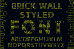 Yellow empty decorative brick wall style font. Vector illustration Royalty Free Stock Photography