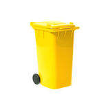 Yellow empty recycling bin Stock Photos