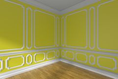 Yellow empty room corner with molding and parquet. Yellow empty room corner interior with sunlight from window, decorative classic style molding on walls, wooden Royalty Free Stock Photo