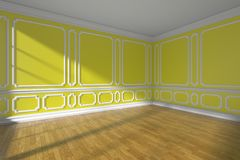 Yellow empty room with molding and parquet. Yellow empty room interior with sunlight from window, classic style molding on walls, wooden parquet floor and white Royalty Free Stock Photos