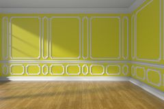 Yellow empty room with molding and parquet floor. Yellow empty room interior with sunlight from window, decorative classic style molding on walls, wooden parquet Stock Image